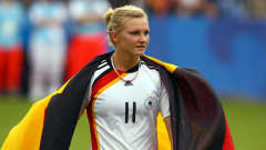 BIELEFELD, GERMANY - AUGUST 01: Alexandra Popp of Germany celebrates after the 2010 FIFA Women's World Cup Final match between Germany and Nigeria at the FIFA U-20 Women's World Cup stadium August 01, 2010 in Bielefeld, Germany. (Photo by Martin Rose - FIFA/FIFA via Getty Images)