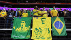 KAUNAS, LITHUANIA - SEPTEMBER 29: Fans of Brazil show their support during the national anthem prior to the FIFA Futsal World Cup 2021 Semi-Final match between Brazil and Argentina at Kaunas Arena on September 29, 2021 in Kaunas, Lithuania. (Photo by Alex Caparros - FIFA/FIFA via Getty Images)