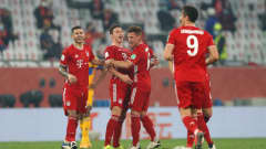 DOHA, QATAR - FEBRUARY 11: Benjamin Pavard of FC Bayern Muenchen celebrates with teammates Lucas Hernandez and Joshua Kimmich after scoring their team's first goal during the FIFA Club World Cup Qatar 2020 Final between FC Bayern Muenchen and Tigres UANL at the Education City Stadium on February 11, 2021 in Doha, Qatar. (Photo by Mohamed Farag - FIFA/FIFA via Getty Images)