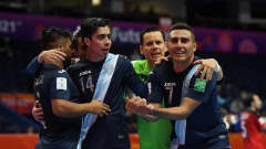 VILNIUS, LITHUANIA - SEPTEMBER 15: Jose Mansilla of Guatemala celebrates with teammates after scoring their team's first goal during the FIFA Futsal World Cup 2021 group B match between Egypt and Guatemala at Vilnius Arena on September 15, 2021 in Vilnius, Lithuania. (Photo by Alex Caparros - FIFA/FIFA via Getty Images)