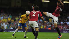 CARDIFF, WALES - JULY 26:  Neymar of Brazil scores his goal during the Group C Men's Football match between Brazil and Egypt at Millennium Stadium on July 26, 2012 in Cardiff, Wales.  (Photo by Jamie McDonald - FIFA/FIFA via Getty Images) *** Local Caption *** Neymar