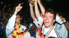 West Germany's Lothar Matthauscelebrates winning the 1990 FIFA World Cup Italy™.