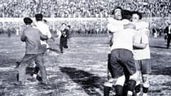World Cup Final, 1930, Montevideo, Uruguay, Uruguay 4 v Argentina 2, Members of the the Uruguayan team celebrate after Winning the Jules Rimet trophy by beating rivals Argentina in the first ever World Cup Final (Photo by Popperfoto/Getty Images)