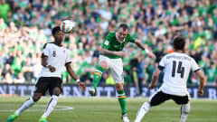 DUBLIN, IRELAND - JUNE 11: Glenn Whelan (C) of Republic of Ireland and David Alaba (R) of Austria during the FIFA 2018 World Cup Qualifier between Republic of Ireland and Austria at Aviva Stadium on June 11, 2017 in Dublin. (Photo by Charles McQuillan/Getty Images)