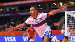 VILNIUS, LITHUANIA - SEPTEMBER 22: Robinho of Football Union of Russia celebrates after scoring their sides first goal during the FIFA Futsal World Cup 2021 Round of 16 match between Football Union of Russia and Vietnam at Vilnius Arena on September 22, 2021 in Vilnius, Lithuania. (Photo by Alexander Scheuber - FIFA/FIFA via Getty Images)