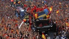 Spain celebrate winning South Africa 2010 during their victory parade