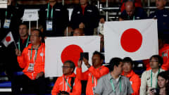 BUENOS AIRES, ARGENTINA - OCTOBER 17: Supporters of Japan cheer in the Women's Futsal Final match between Portugal and Japan during the Buenos Aires Youth Olympics 2018 at Tecnopolis on October 17, 2018 in Buenos Aires, Argentina.  (Photo by Martin Rose - FIFA/FIFA via Getty Images)