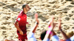 Madjer of Portugal celebrates his team's first goal during the FIFA Beach Soccer World Cup Portugal 2015 Final between Tahiti and Portugal at Espinho Stadium on July 19, 2015 in Espinho, Portugal.  (Photo by Alex Grimm - FIFA/FIFA via Getty Images)