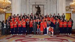 Spain's South Africa 2010 heroes meet the Spanish Royal Family at Zarzuela Palace