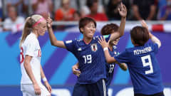 VANNES, FRANCE - AUGUST 20:  Riko Ueki of Japan celebrates her team's first goal during the FIFA U-20 Women's World Cup France 2018 Semi Final semi final match between England and Japan at Stade de la Rabine on August 20, 2018 in Vannes, France.  (Photo by Alex Grimm - FIFA/FIFA via Getty Images)
