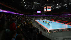 KAUNAS, LITHUANIA - SEPTEMBER 29: A general view inside the arena as both teams and the match officials line up prior to the FIFA Futsal World Cup 2021 Semi-Final match between Brazil and Argentina at Kaunas Arena on September 29, 2021 in Kaunas, Lithuania. (Photo by Oliver Hardt - FIFA/FIFA via Getty Images)