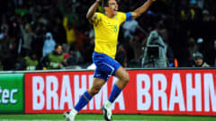 JOHANNESBURG, SOUTH AFRICA - JUNE 28: Brazil captain Lucio celebrates after scoring the winning goal during the FIFA Confederations Cup Final between USA and Brazil at the Ellis Park Stadium on June 28, 2009 in Johannesburg, South Africa. (Photo by Jeff Mitchell - FIFA/FIFA via Getty Images)