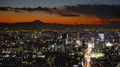 TOKYO, JAPAN - DECEMBER 11: A view of Tokyo as the sun sets over Mount Fuji during the FIFA Club World Cup on December 11, 2012 in Tokyo, Japan. (Photo by Michael Regan - FIFA/FIFA via Getty Images)
