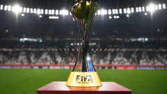 DOHA, QATAR - FEBRUARY 11: The winner's trophy is seen on a plinth at the side of the pitch prior to the FIFA Club World Cup Qatar 2020 Final between FC Bayern Muenchen and Tigres UANL at the Education City Stadium on February 11, 2021 in Doha, Qatar. (Photo by David Ramos - FIFA/FIFA via Getty Images)