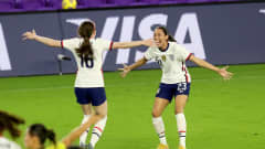 ORLANDO, FL - FEBRUARY 18: Rose Lavelle #16 of USA celebrates with Christen Press #23 after scoring a goal against Canada during the SheBelieves Cup at Exploria Stadium on February 18, 2021 in Orlando, Florida. (Photo by Alex Menendez/Getty Images)