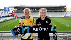 AUCKLAND, NEW ZEALAND - JUNE 26: Tameka Yallop of Australia (L) and Paige Satchell of New Zealand (R) pose after the announcement of the 2023 FIFA Women's World Cup hosts at Eden Park on June 26, 2020 in Auckland, New Zealand. (Photo by Phil Walter/Getty Images)