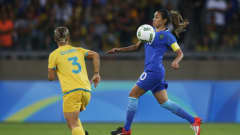 BELO HORIZONTE, BRAZIL - AUGUST 12:  Marta of Brazil controls the ball during the Women's Quarter Final match between Brasil and Australia on Day 7 of the Rio2016 Olympic Games at Mineirao Stadium on August 12, 2016 in Belo Horizonte, Brazil.  (Photo by Joern Pollex - FIFA/FIFA via Getty Images)