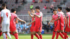 GOYANG, SOUTH KOREA - JUNE 13: Song Min-Kyu of South Korea celebrates with Son Heung-Min after scores a team's first goal during the FIFA World Cup Asian Qualifier 2nd round Group H match between South Korea and Lebanon at Goyang Stadium on June 13, 2021 in Goyang, South Korea. (Photo by Chung Sung-Jun/Getty Images)