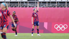 KASHIMA, JAPAN - AUGUST 05: Megan Rapinoe #15 of Team United States celebrates after scoring their side's first goal during the Women's Bronze Medal match between United States and Australia on day thirteen of the Tokyo 2020 Olympic Games at Kashima Stadium on August 05, 2021 in Kashima, Japan. (Photo by Masashi Hara  - FIFA/FIFA via Getty Images)