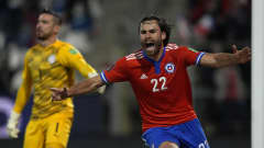 SANTIAGO, CHILE - OCTOBER 10: Ben Brereton of Chile celebrates after scoring the opening goal during a match between Chile and Paraguay as part of South American Qualifiers for Qatar 2022 at Estadio San Carlos de Apoquindo on October 10, 2021 in Santiago, Chile. (Photo by Esteban Felix - Pool/Getty Images)