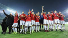 Players of Manchester United celebrate after winning the FIFA Club World Cup in Yokohama on December 21, 2008