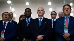 CALI, COLOMBIA - OCTOBER 01: FIFA President Gianni Infantino (C) looks on as the National Anthems are played before the FIFA Futsal World Cup Third Place Play off match between Iran and Portugal at the Coliseo El Pueblo stadium on October 1, 2016 in Cali, Colombia. (Photo by Alex Caparros - FIFA/FIFA via Getty Images)