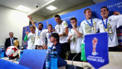 SAINT PETERSBURG, RUSSIA - JULY 02: Joachim Loew, coach of Germany and his players speak to the media after the FIFA Confederations Cup Russia 2017 Final between Chile and Germany at Saint Petersburg Stadium on July 2, 2017 in Saint Petersburg, Russia.  (Photo by Alex Grimm - FIFA/FIFA via Getty Images)