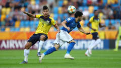 GDYNIA, POLAND - JUNE 14: Jordy Alcivar of Ecuador battles for possession with Roberto Alberico of Italy during the 2019 FIFA U-20 World Cup Third Place Play-Off match between Italy and Ecuador at Gdynia Stadium on June 14, 2019 in Gdynia, Poland. (Photo by Lars Baron - FIFA/FIFA via Getty Images)