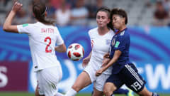 VANNES, FRANCE - AUGUST 20:  Riko Ueki of Japan is challenged by Megan Finnigan of England during the FIFA U-20 Women's World Cup France 2018 Semi Final semi final match between England and Japan at Stade de la Rabine on August 20, 2018 in Vannes, France.  (Photo by Alex Grimm - FIFA/FIFA via Getty Images)