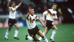 Lothar Matthaus celebrates scoring the opener in West Germany's 4-1 win over Yugoslavia at the 1990 FIFA World Cup Italy™. The 29-year-old midfielder finished the game having scored twice, both from shot outside the box.