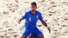 ESPINHO, PORTUGAL - JULY 19: Emmanuele Zurlo of Italy reacts during the FIFA Beach Soccer World Cup Portugal 2015 Third Place match between Italy and Russia at Espinho Stadium on July 19, 2015 in Espinho, Portugal.  (Photo by Alex Grimm - FIFA/FIFA via Getty Images)